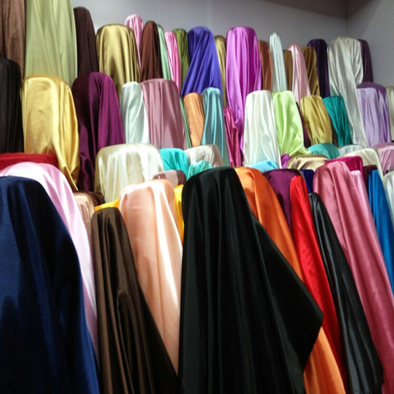 Top Sale 74 Colors 94% Polyester 6% Spandex Dull Stretch Satin Fabric for Dress Sleepwear Lining