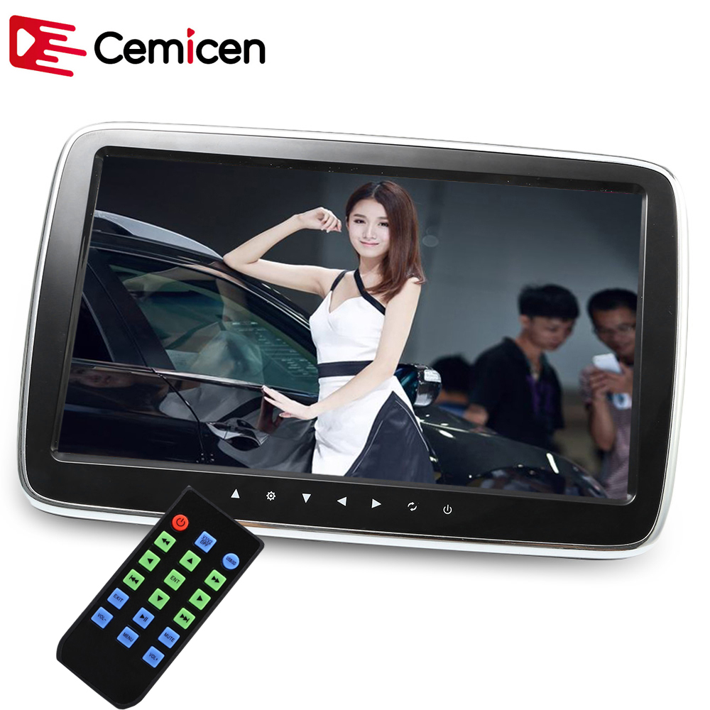 Cemicen 10 Inch Car Headrest Monitor HD LCD Screen Digital MP5 Player Touch Button Remote With