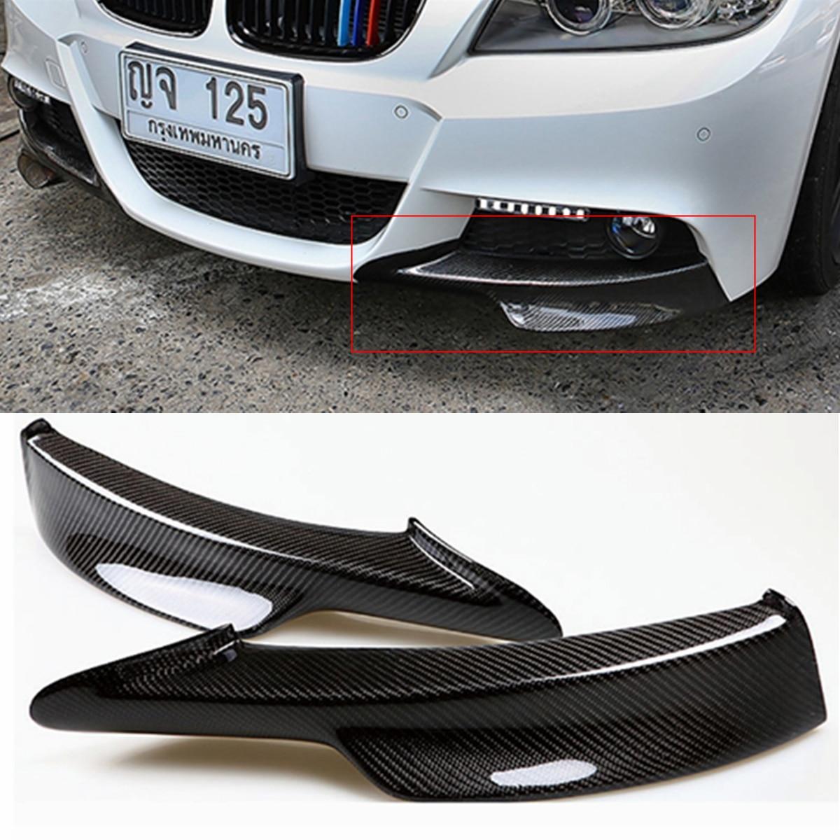 Universal Car Front Bumper Lip Fit For For BMW E90 335i LCI M Tech Real Carbon Fiber Front Bumper Protector Upper Side Splitter