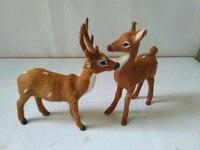 Simulation Sika Deer Model Polyethylene Real Furs Antlers Deer 15x16cm Handicraft Figurines Prop Home Decoration Toy