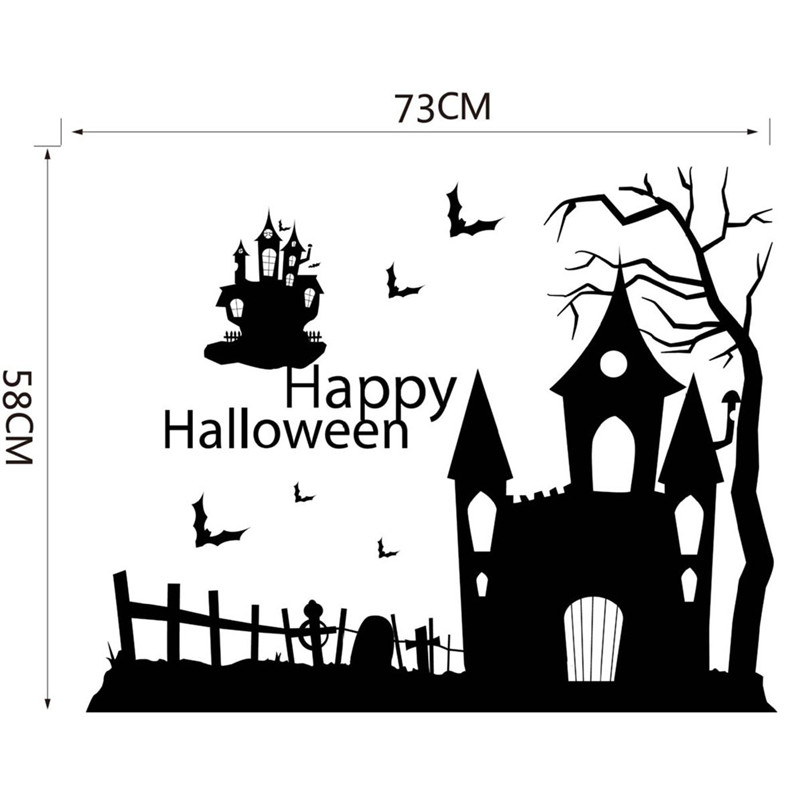 halloween ghost castle village cartoon pattern wall decal wall sticker with flying bats vinyl art diy