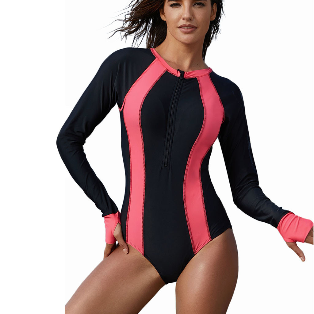 Sports & Entertainment Strong-Willed 2019 One Piece Long Sleeves Geometry Printed Rash Guard Women Surf Beach Wear Floral One Piece Biquini Diving Uv Plavky Wetsuits