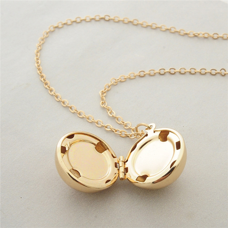 Women Men Gold Silver Color Personalized Long Chain Round Ball Necklace Hidden Secret Message Locket Necklace Jewelry in Pendant Necklaces from Jewelry Accessories
