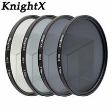 KnightX ND2 ND4 ND8 ND16 ND filtro para Nikon D3100 D3200 D5200 D7100 para Canon 1100d 1200D 49mm 52mm 55mm 58mm 62mm 67mm 72 77mm