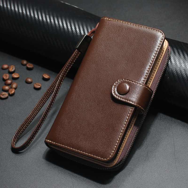 Цена за Съемный на молнии бумажник чехол для iPhone 6 6 S плюс Роскошный Натуральная кожа откидная крышка телефон сумка чехол для iPhone 7 7 Plus