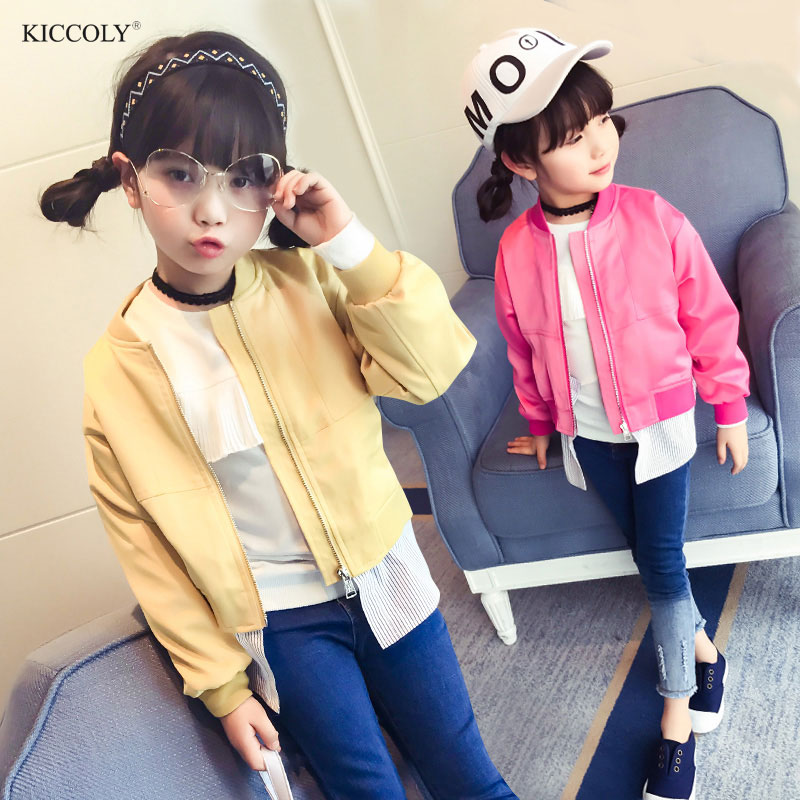 KICCOLY 2017 New Spring & Autumn Fashion Kids Leather Jacket Girls PU Coat Children Hem Removable Outwear For Girl 4~14T 2Colour