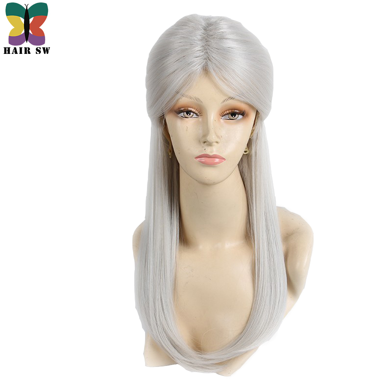 HAIR SW Long Straight Synthetic Hair Game Witcher Cosplay Wigs Silver Gray Braid With Bun Wig For Cosplayer