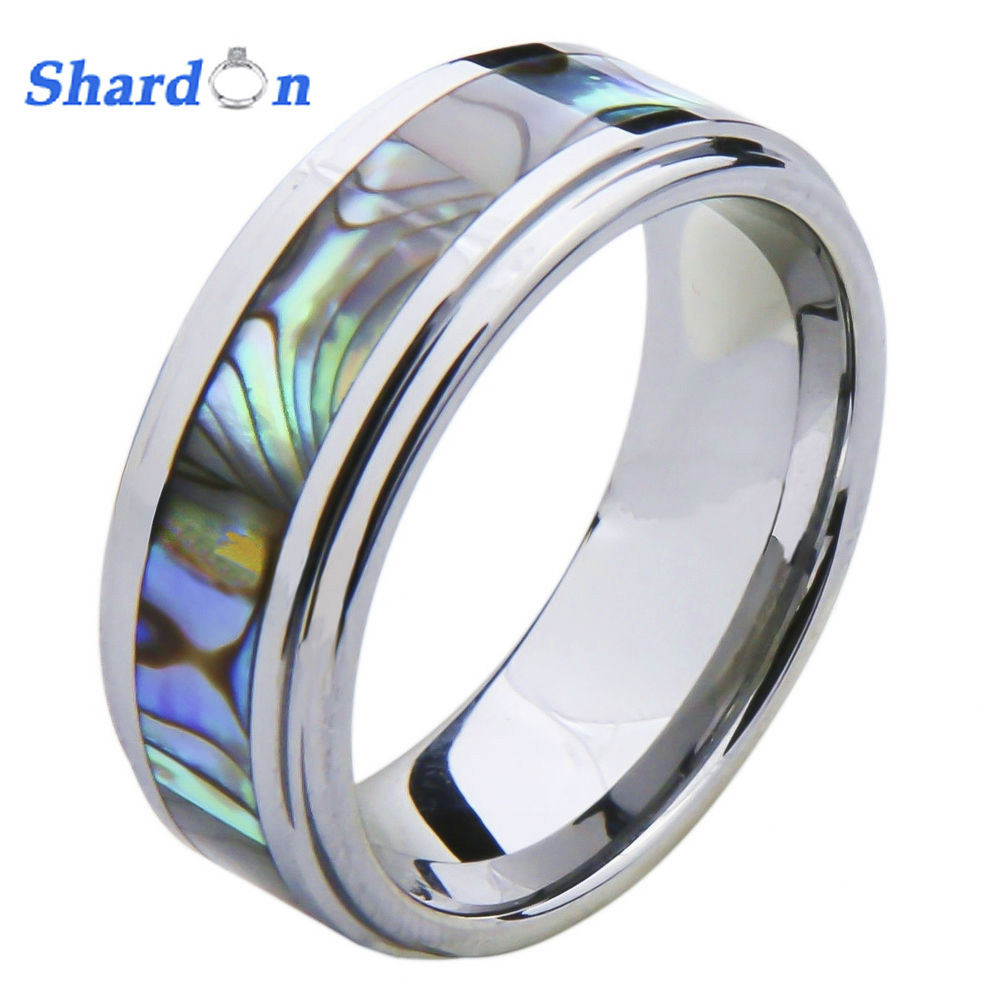 SHARDON 6mm/8mm Edged Tungsten Carbide Ring with Mother of Pearl Inlay Wedding Band black tungsten carbide with dark wood inlay mens wedding ring