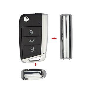 Image 2 - OkeyTech الجانب الجزء المعدني ل VW Golf 7 GTI MK7 سكودا اوكتافيا A7 مقعد الوجه للطي استبدال مفتاح بعيد قذيفة سيارة الجزء المعدني