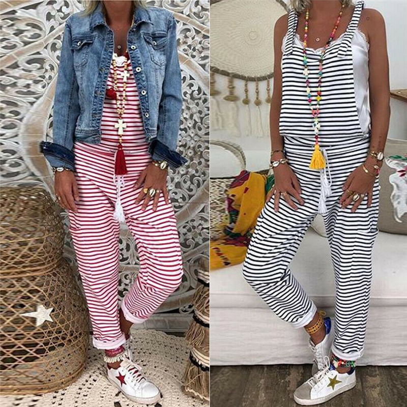 Women Jumpsuit Summer Striped Dungarees Harem Strap Pant Loose Jumpsuit Baggy Trousers Overalls Ladies Rompers Backless Playsuit