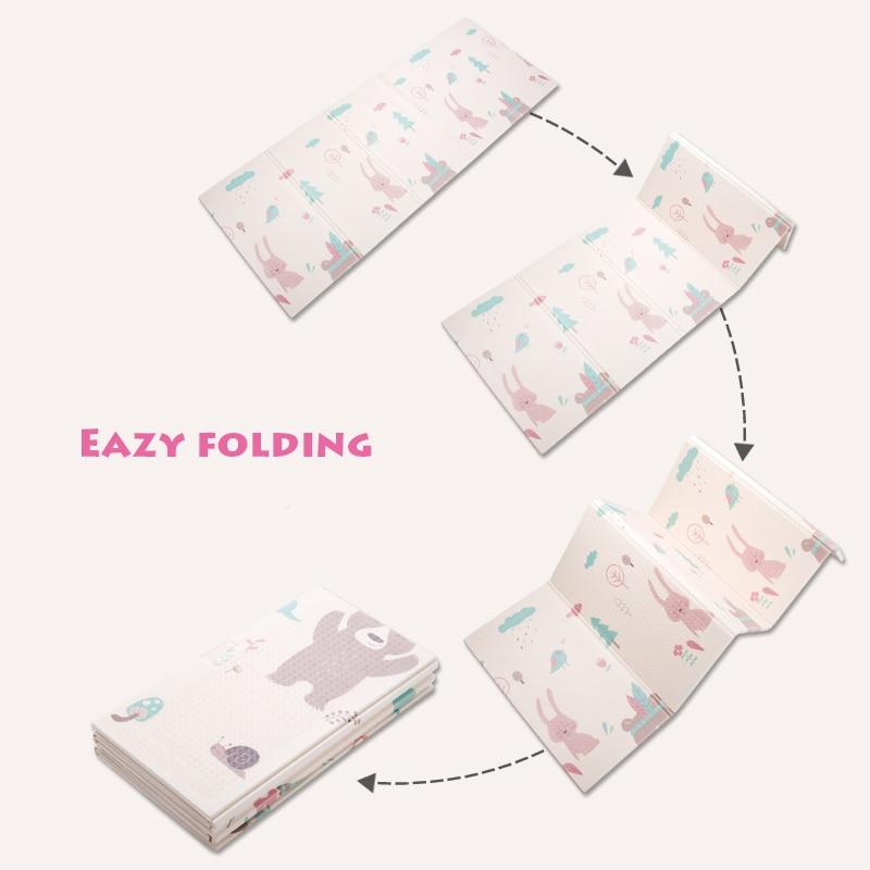 Tapis de jeu pour bébé pliable brillant épaissi Tapete Infantil maison bébé chambre Puzzle tapis XPE 150X200 CM épissage 1 CM épaisseur - 4