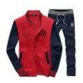 5XL Autumn New Men's Baseball TrackSuit Set Sweatshirts Long Sleeve Men Hoodies Stand Collar Male Outwear Tracksuit Set + Pants