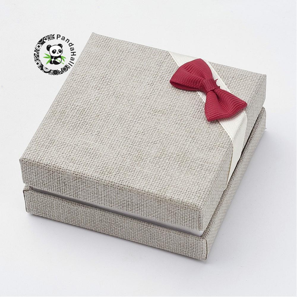 Cardboard Box Bracelet Boxes with Bowknot and Burlap Square 8x8x3.5cm
