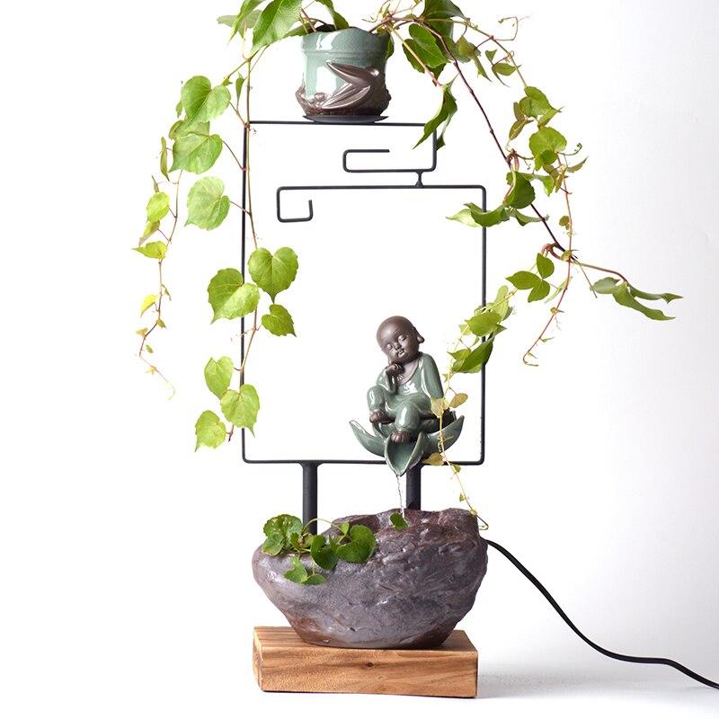 110/220 V en céramique belle petite moine plante Vase Kit décoration de la maison Feng Shui fontaine d'eau bureau décorations de bureau artisanat cadeaux