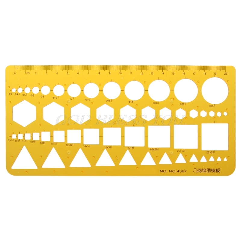 K Resin Ruler Circles Squares Triangle Geometric Template Ruler Stencil Measuring Tool Ruler School Accessories