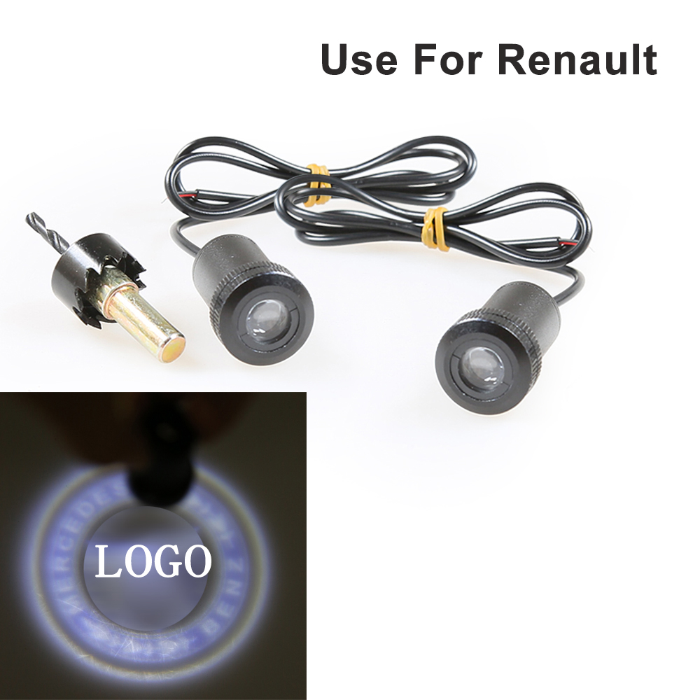 1pair Car 4th Logo Projector Ghost Shadow For Renault  LED Car Door Courtesy Logo Laser