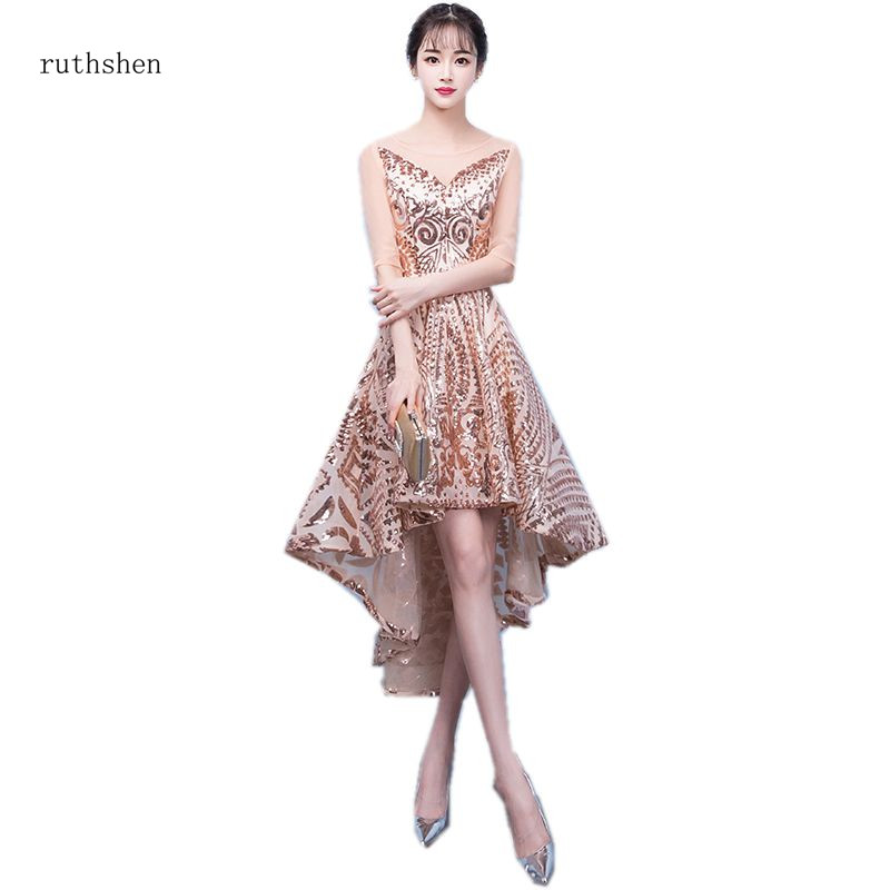 ruthshen Reflective   Dress   Asymmetrical   Prom     Dresses   Sparkle Skirt Half Sleeves Vestidos De   Prom   New Arrival Vestidos De Fiesta