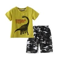 2017 Zomer Jongen kleding sets dinosaurus gedrukt kinderkleding sets katoen 2 stks korte mouw jongens t-shirts + camouflage shorts broek
