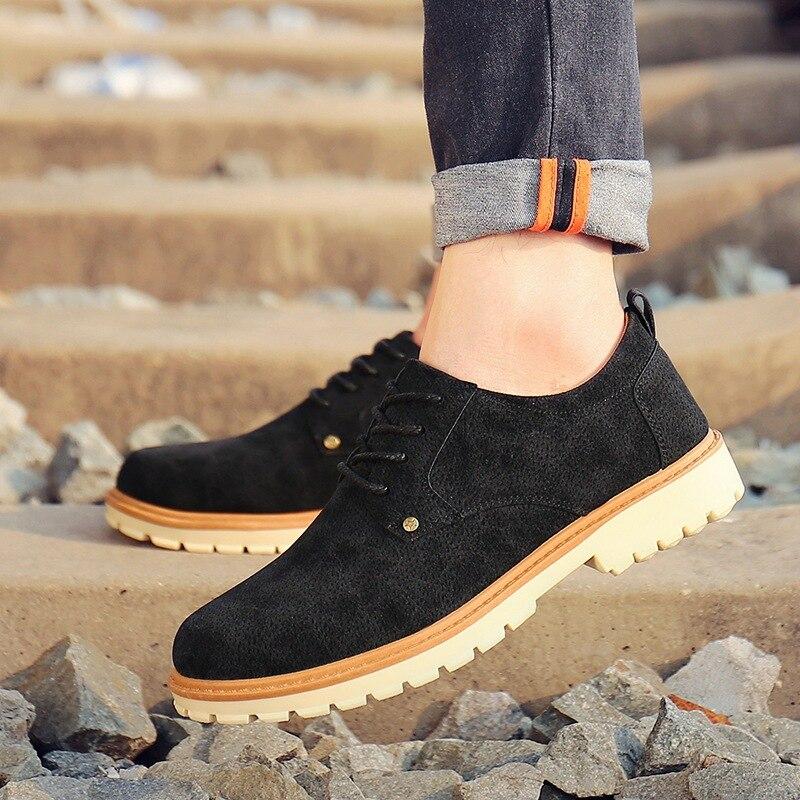 Ocidentais Sapatos Casuais amarelo Ankle Costura Martin Homens Maduro up Botas Lace Trabalho Sólida Boots Militar Baixos Moda Primavera Preto Outono De Negócio BXdXwq
