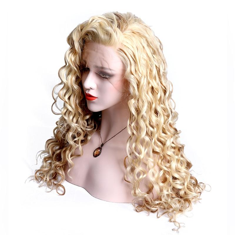 Синтетические Блондинка Цвет Синтетические волосы на кружеве парик Вьющиеся Смешанная Цвет руки связали длинный парик термостойкие Волок...