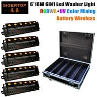 Flightcase For 5 Pack 6x18W 6in1 RGBWA+UV Battery Wireless Led Wall Washer Light, DMX512 Battery 7 9 Hours Work Led Bar Light