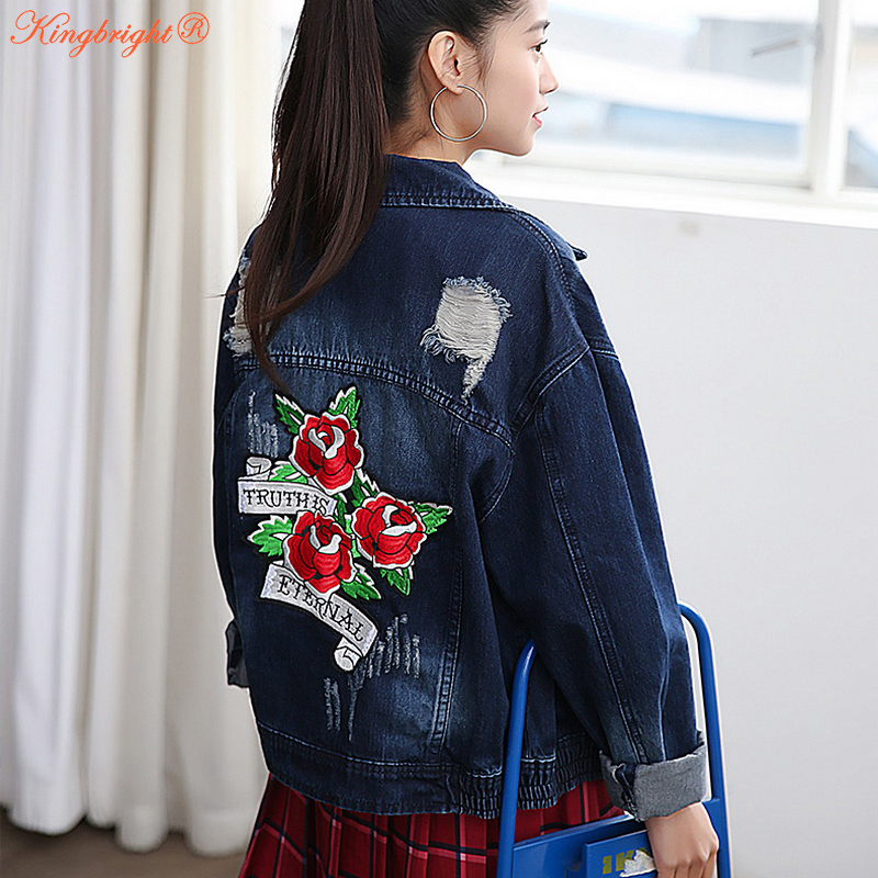 2017 Spring Denim Jacket Women With Flower Patch New ...