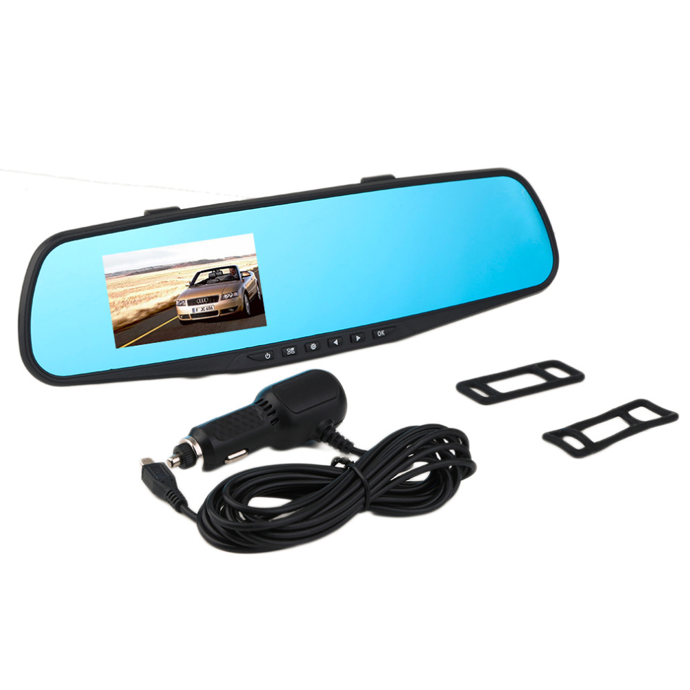 1PC Car DVR Camera Video Recorder 2.8inch 720P Rearview Mirror Dash Cam 120Degree Angle Vehicle Dual Lens Car Rear View Black