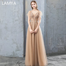 LAMYA Embroidery With Crystal Long Evening Dress V Neck Tulle A Line Formal Party Dresses Appliques Prom Gown Vestido De Festa