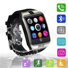 Bluetooth Relógio Inteligente Com Câmera Whatsapp Facebook Twitter Q18 Smartwatch Sincronização SMS Apoio Cartão TF SIM Para IOS Android Phone