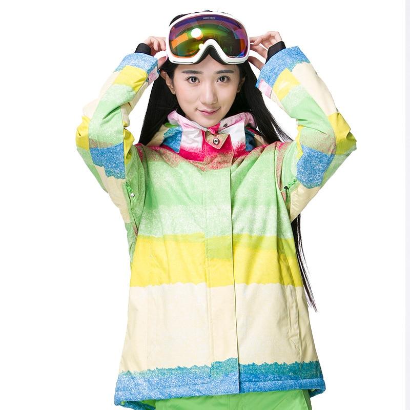 Prix pour Professionnel Femme Patchwork Sports de Plein Air Imperméable et Respirante Coupe-Vent À Capuche Neige Veste Dame Thermique Snowboard SkiingCoat