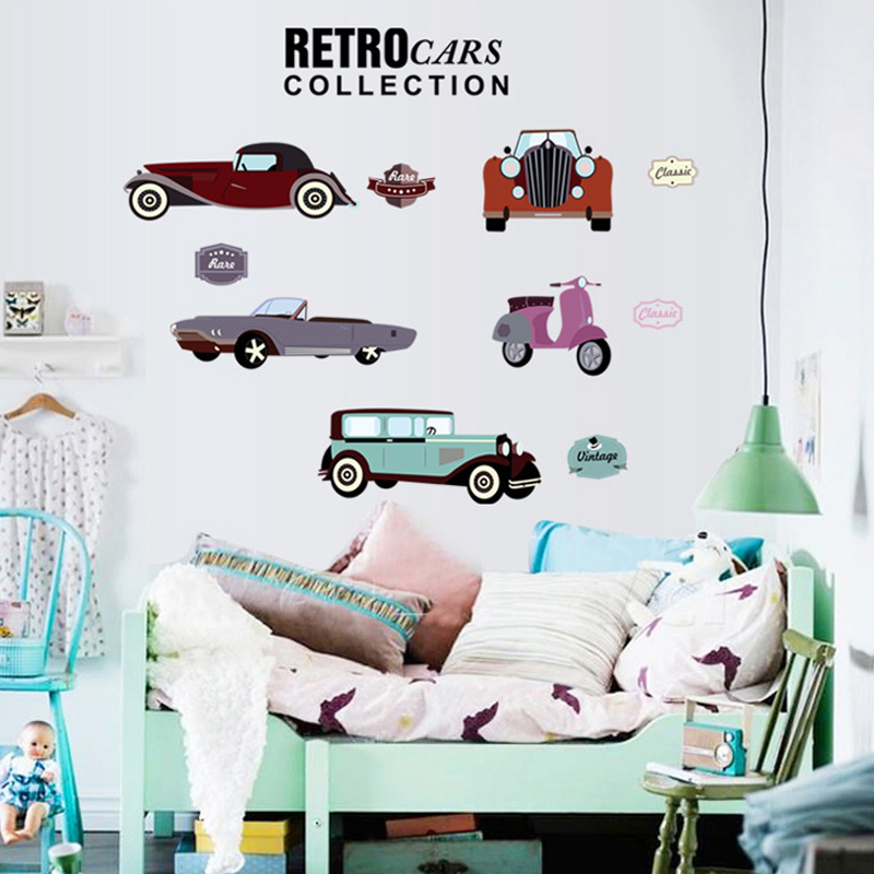 3D wallpaper cartoon classic cars boy room personality decoration Kids Room wall stickers living room bedroom TV murals