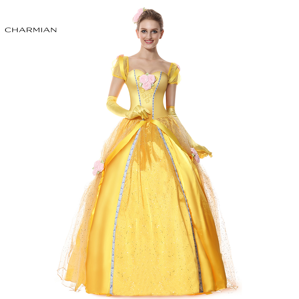 Charmian New Fairy Belle Princess Halloween Costume for Women Beauty Ball Gown Cosplay Costume Halloween Carnival Party Dress