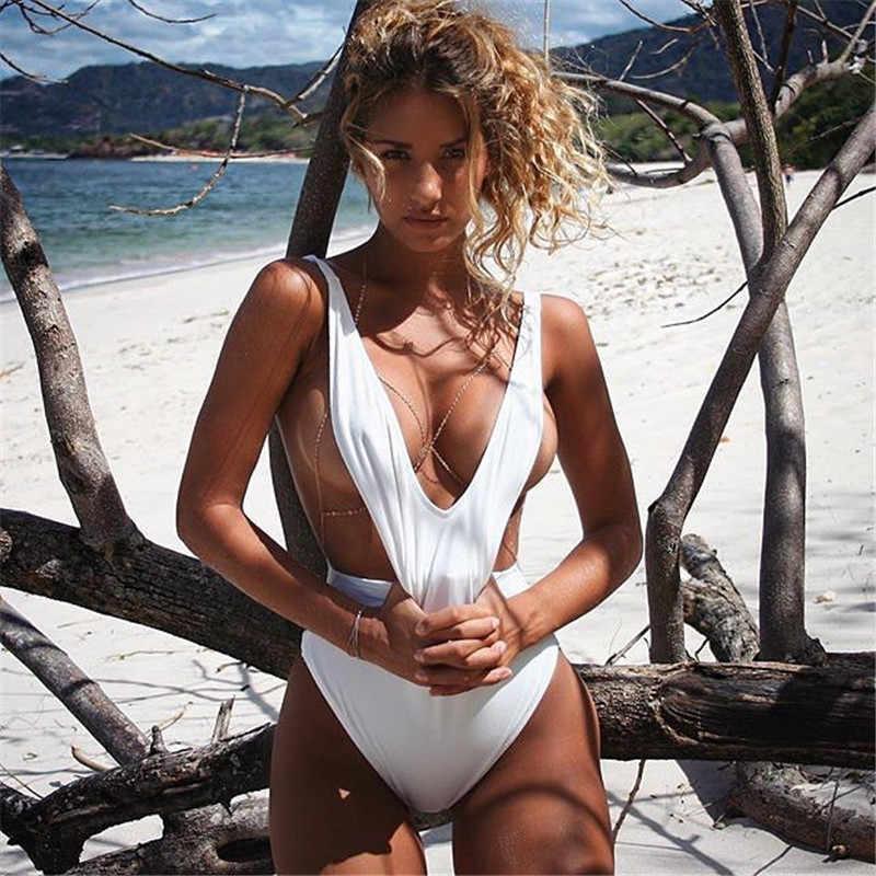 Traje de baño de mujer Bodysuits Sexy cuello en V sin espalda sin mangas Bodysuit moda Color sólido señoras natación ropa de baño