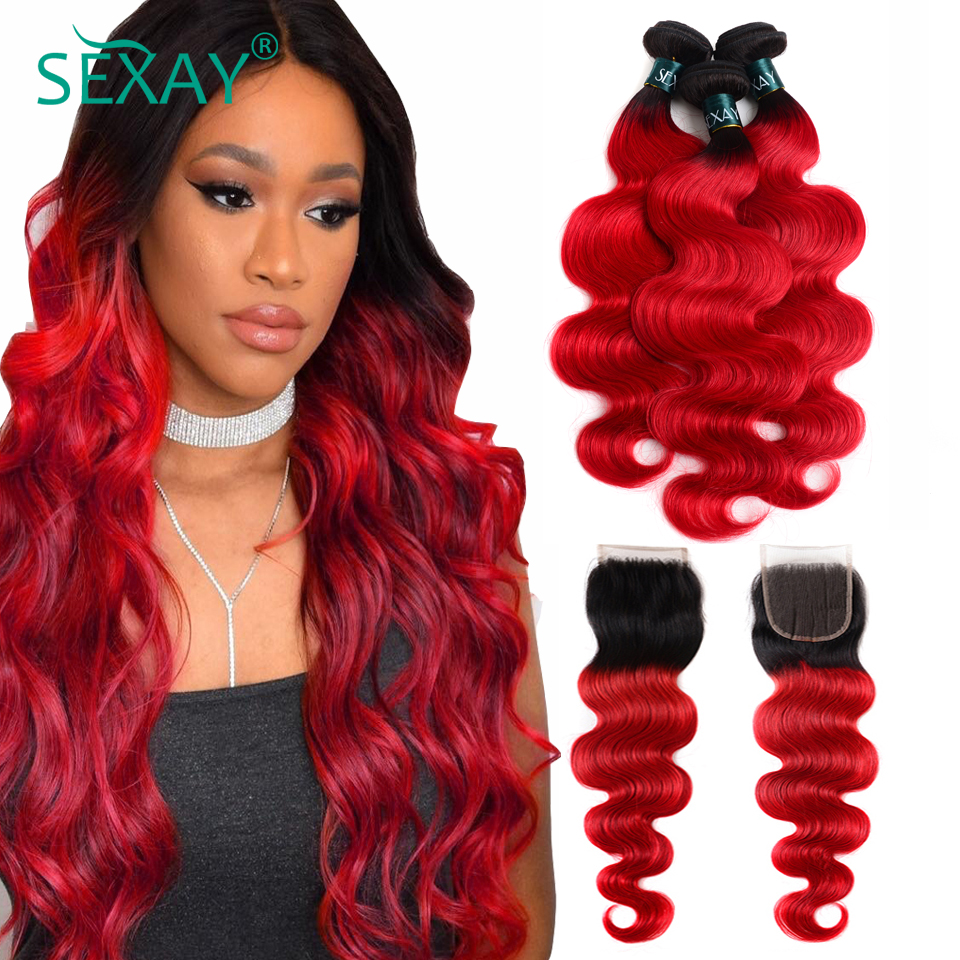 SEXAY 1B/Red Ombre Bundles With Closure Brazilian Body Wave 3 Bundles Pack With Closure Pre-Colored Human Hair Weft Weave Remy