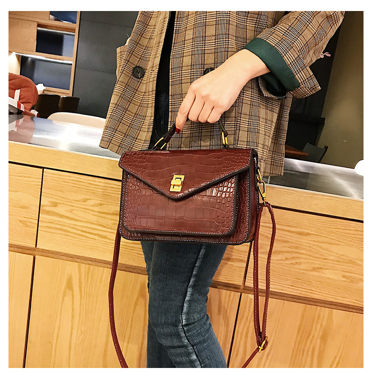 MJ Women Messenger Bag Fashion Crocodile Pattern PU Leather Female Small Handbag Tote Bags Crossbody Shoulder Bag for Girls (10)