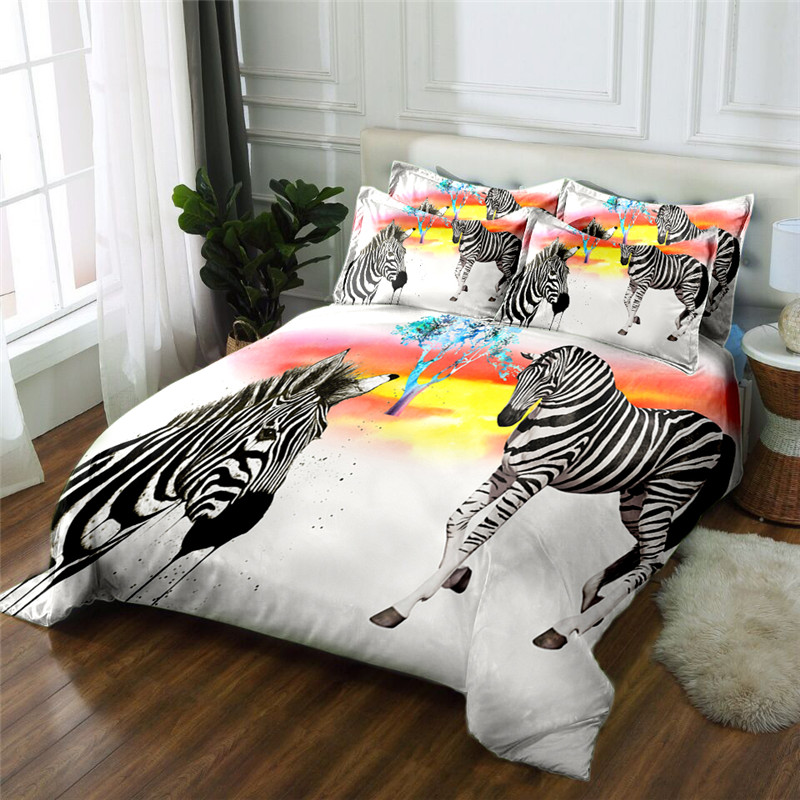 New Product Elk 3D printed 4 Pcs Bedding Set Microfiber Bedclothes Bed Linens Duvet Cover Set Bed Sheet - 3