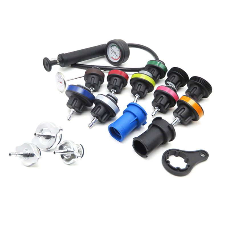 18pcs Universal Radiator Pressure Tester AndWater Tank Leak Detector Car Cooling System Kit Coolant Pressure Tester Kit Car Diag