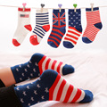 2017 fashion boys socks kids 100% cotton striped flag print casual kids sock multi pattern, 5 Pairs / Lot