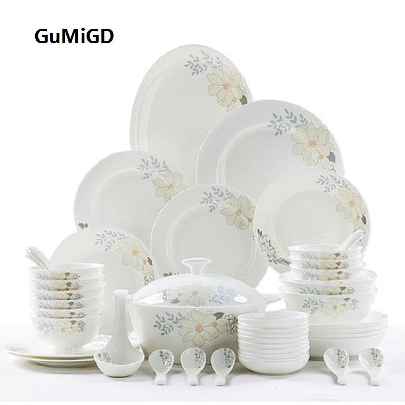 Guci  dishes set combined domestic Tangshan high-grade dishes pottery bowl Korean bone china tableware set serveware