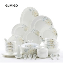 Guci  dishes set combined domestic Tangshan high-grade pottery bowl Korean bone china tableware