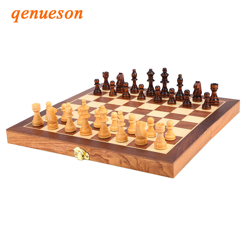 High Cost Performance Magnetic Folding Wooden Chess Set Solid Wood Chessboard Magnetic Pieces Entertainment Chess Games qenueson все цены