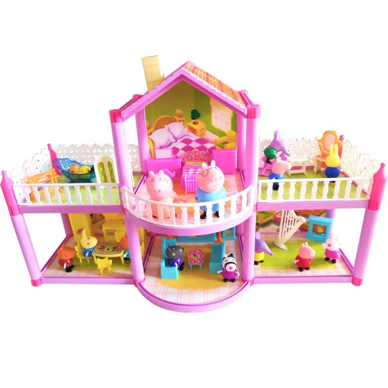 Pvc villa brinquedos heurística inteligência peppa pig brinquedos meninas brinquedos fingir brinquedos presente de natal das crianças