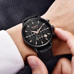Image 3 - Hommes montre daffaires de luxe mode calendrier Sport décontracté mâle Quartz montre bracelet en cuir véritable multifonction hommes cadeau montres