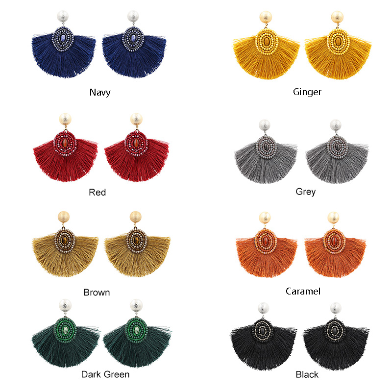 Fan Shaped Tassel earrings For Women Vintage Natural Stone Fringe Earrings Crystal Beads Earring oorbellen voor vrouwen in Drop Earrings from Jewelry Accessories