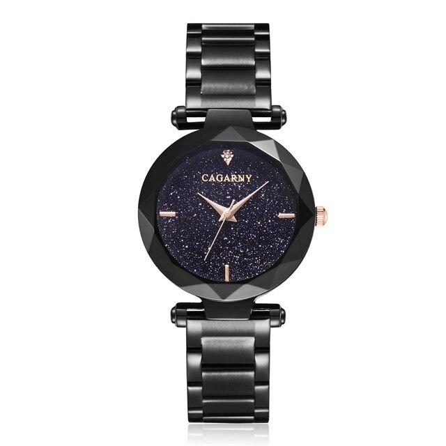 Cagarny Luxury Diamond Women Wrist Watch Ladies Rose Gold Steel Bracelet Watch starry sky Quartz Watch Female Clock Reloj Mujer