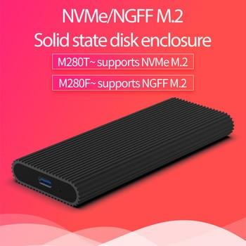 SSD Blueendless M2 PCIe NVMe / NGFF Tipo C para USB 3.1 Estojo de armazenamento externo de alumínio de 2.5 'Caixa de caddy de disco rígido USB 1