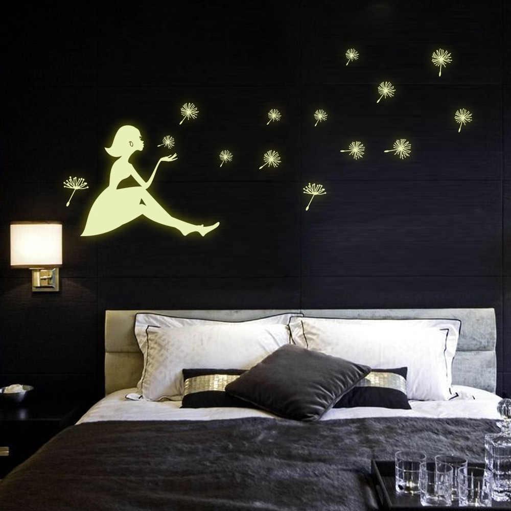 20*25CM pegatinas de pared fluorescente luminosas que brillan en la oscuridad Blow the dandelion chica niños dormitorio Fondo Y0031