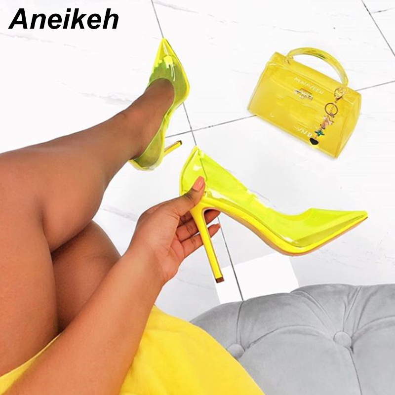 Aneikeh 2019 Summer New Sexy PVC Candy Color High Heels Transparent Shallow Mouth Pointed Stiletto High Heel Shoes Pink Yellow