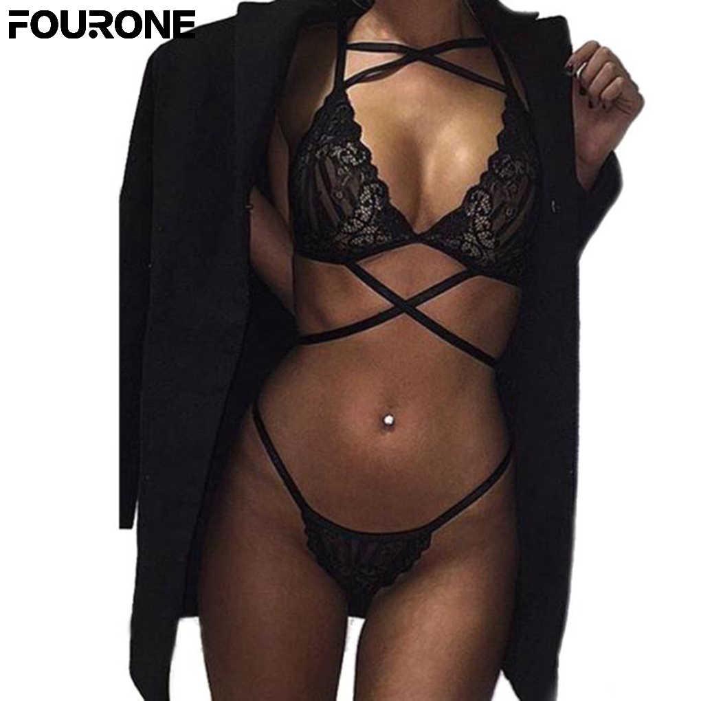 20a4afde8aa9 Для женщин сексуальное женское белье бюстгальтер и Краткие наборы кружева с  поперечным Ремешком выдалбливают Нижнее белье