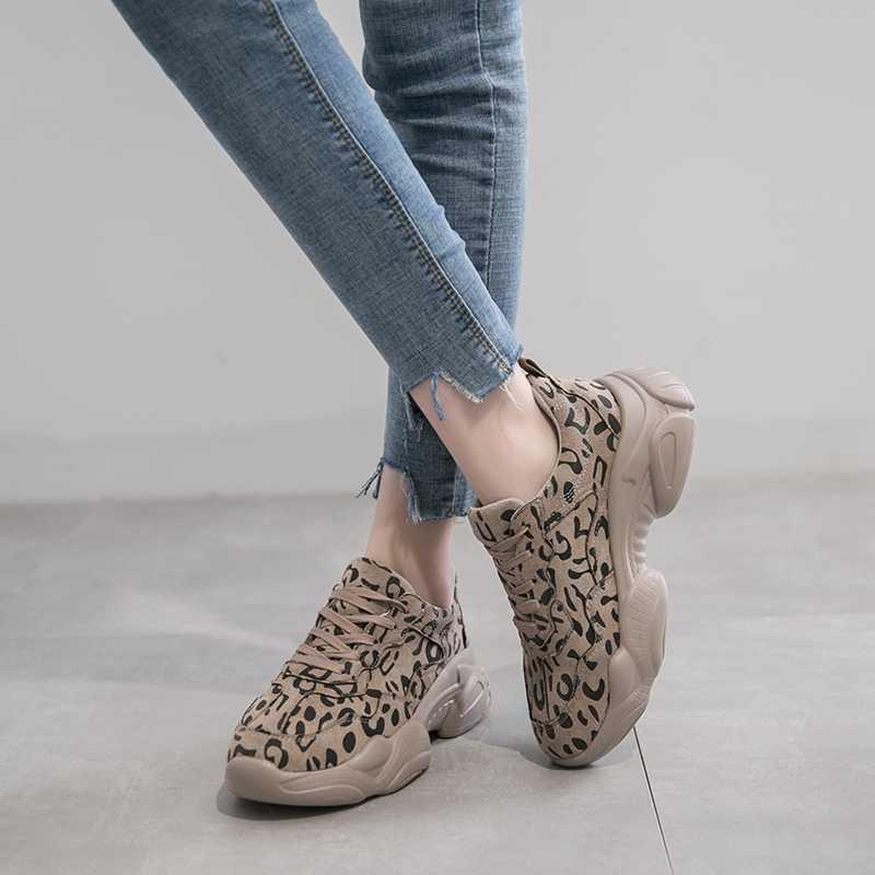 COOTELILI Frühling Herbst Turnschuhe Frauen Flache Plattform Casual Schuhe Frau Oxfords Lace up Atmungsaktive Frauen Schuhe Leopard